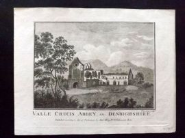 Boswell 1786 Antique Print. Valle Crucis Abbey in Denbigshire, Scotland